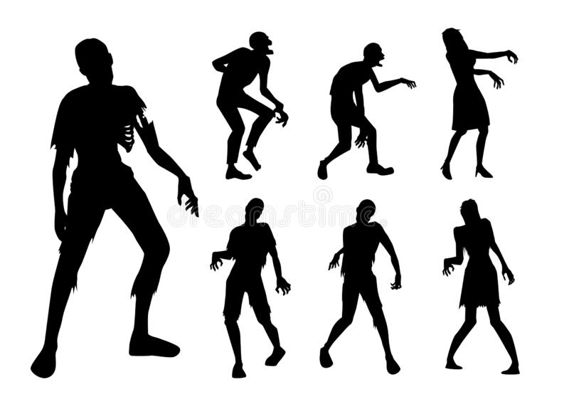 Zombie standing and walking actions in Silhouette style collection. royalty free stock photography