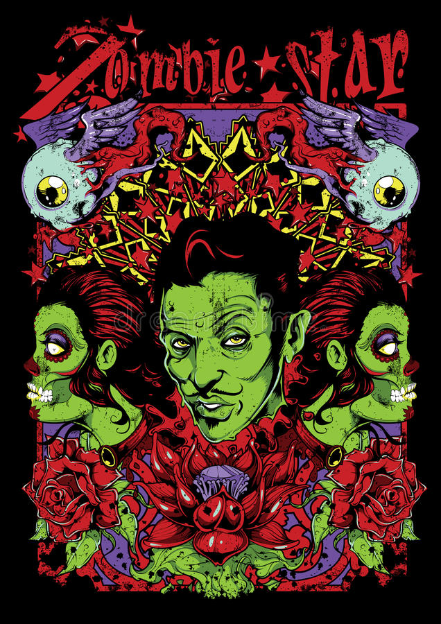 Zombie star royalty free illustration