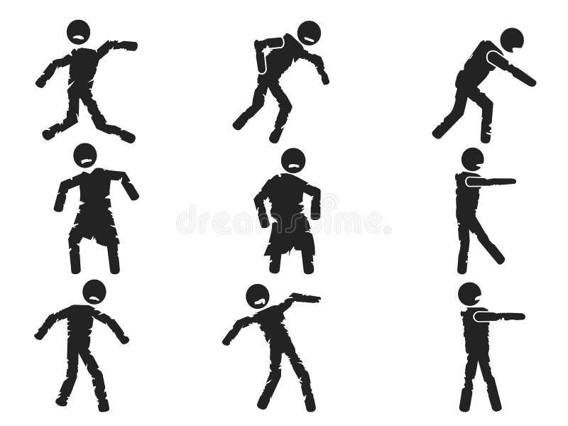 Zombie stick figure set stock illustration