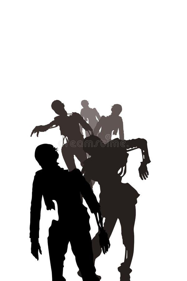 Zombie su bianco illustrazione vettoriale