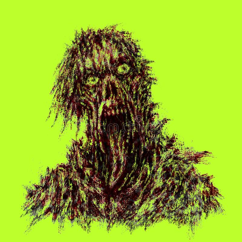 Zombie with torn face and hanging tongue. royalty free illustration