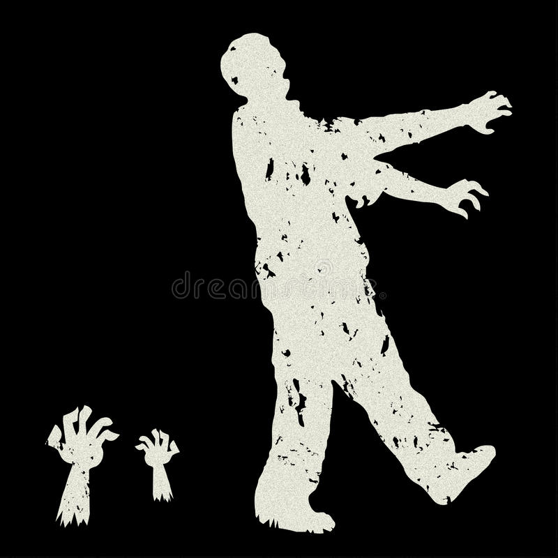 Zombie vector. Silhouette of a Zombie walking on white background vector royalty free illustration