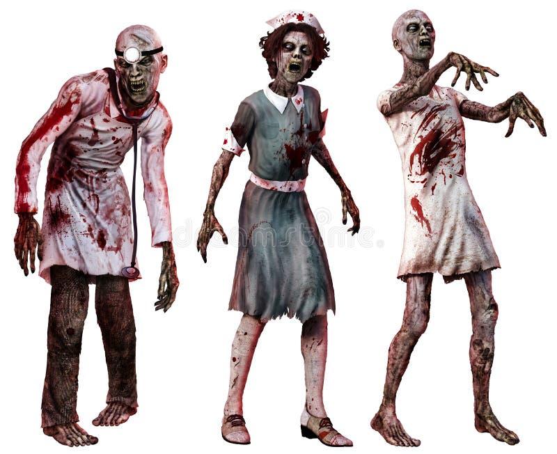 Zombie in vestiti dell'ospedale royalty illustrazione gratis
