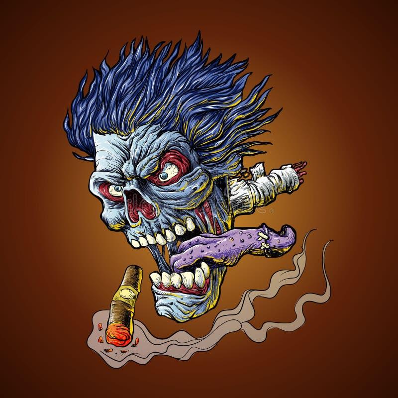 Zombie Vliegend hoofd vector illustratie