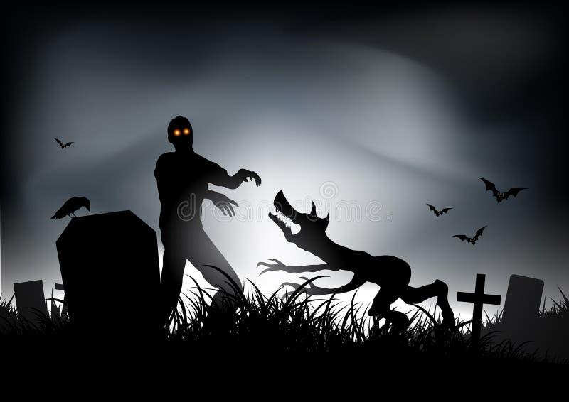 Zombie VS Werewolf royalty free illustration