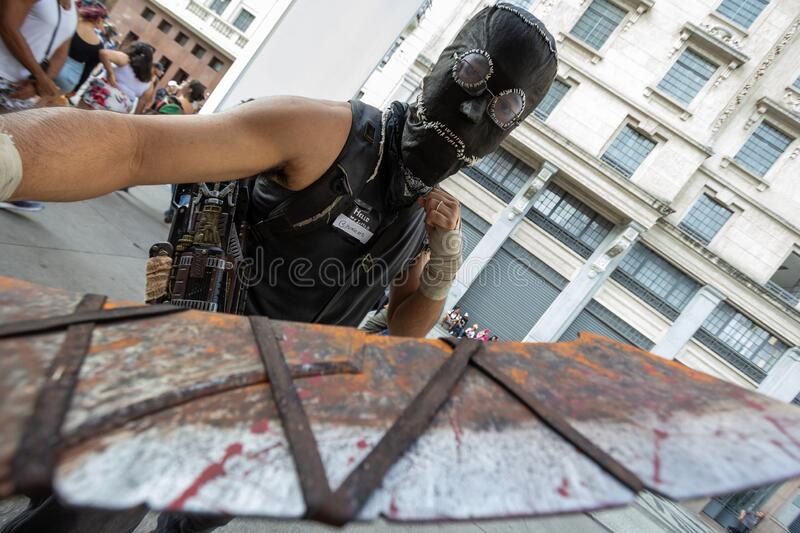Zombie Walk on All Soul Day, Hallowmas. Parade for the Day of the Dead in cosplay and makeup stock photos