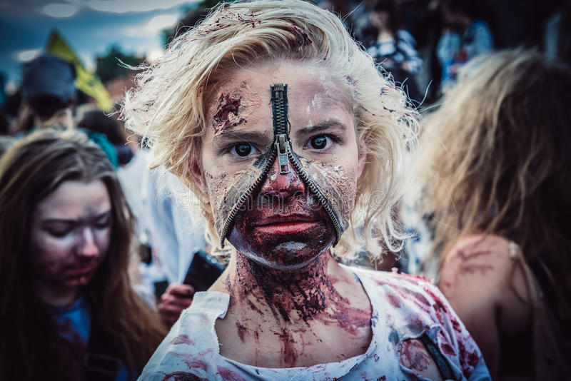 Zombie Walk in Warsaw royalty free stock images
