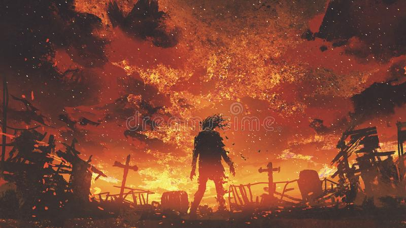 Zombie walking in the burnt cemetery. With burning sky, digital art style, illustration painting royalty free illustration