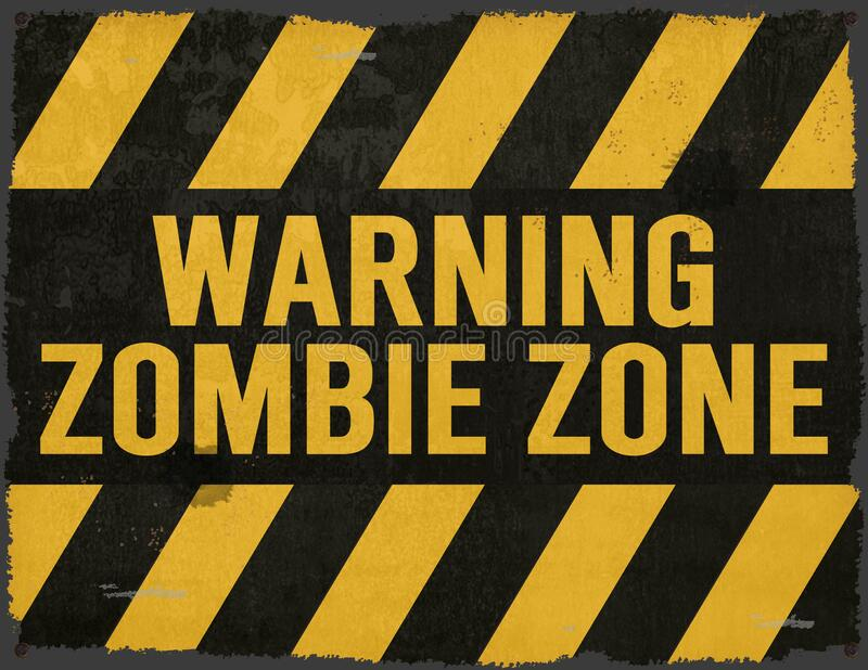 Zombie Warning Sign Grunge Yellow and Black stock image