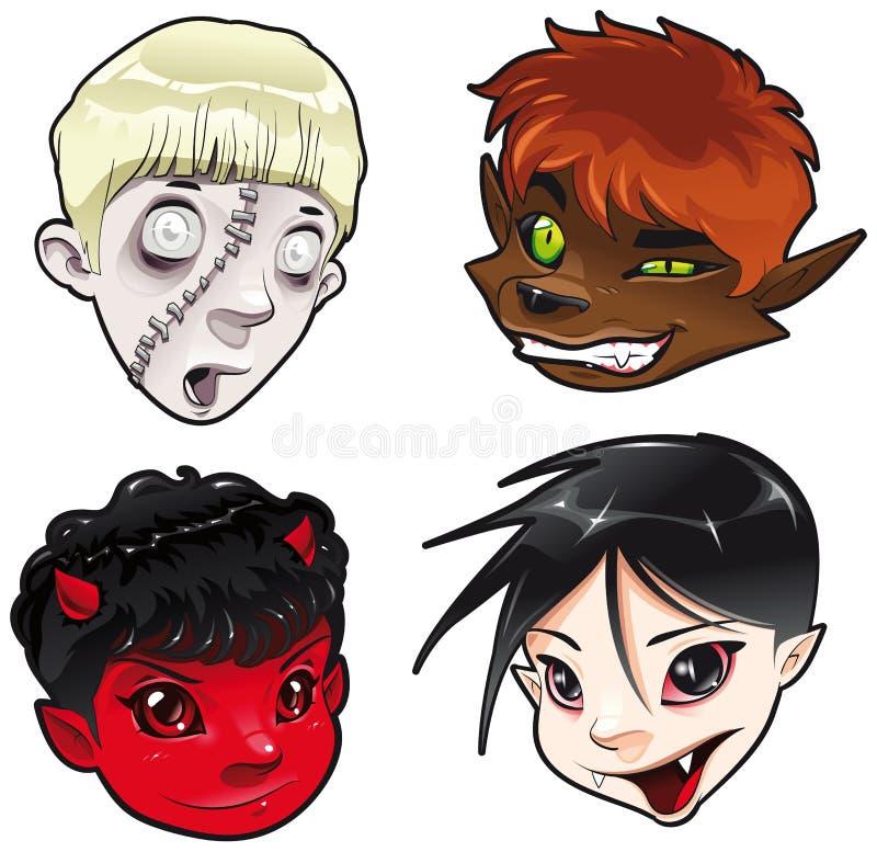 Zombie, Werewolf, Teufel und Vampir. lizenzfreie abbildung