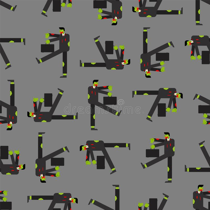 Zombie worker pattern seamless. Zombies managers background. vector illustration.  vector illustration