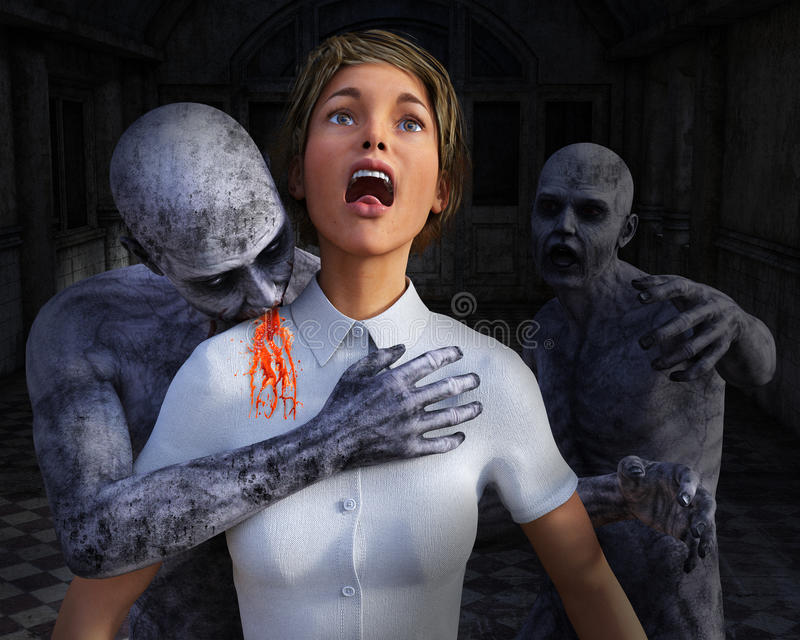 Zombieapocalyps, Horro-Slachtoffer, Halloween royalty-vrije illustratie