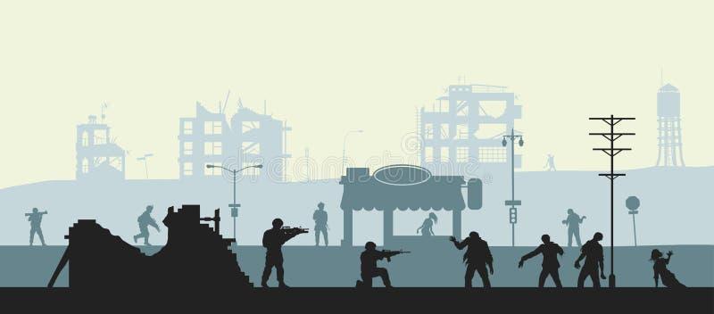 Zombieapocalypseszene Schattenbild von Soldaten und von toten Völkern Militärlandschaft Undead in der Stadt Albtraummonster lizenzfreie abbildung