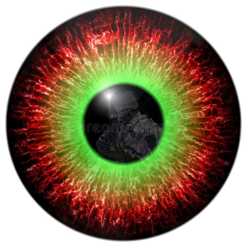 Zombieaugen mit der Reflexion gingen Soldaten voran Mustert Mörder Tödlicher Blickkontakt Tierauge mit Kontrast farbiger Iris stock abbildung