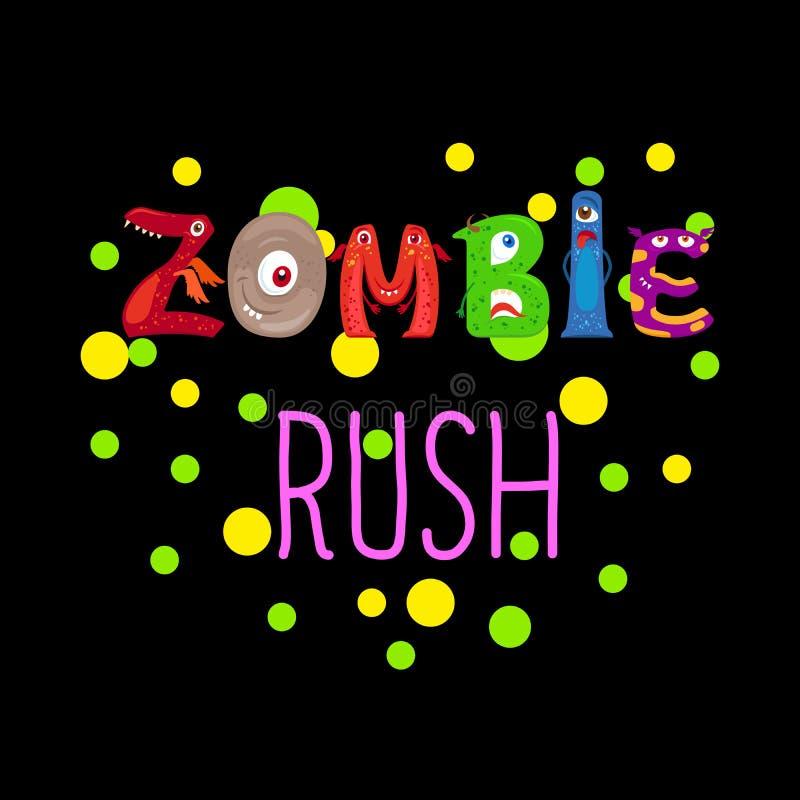 Zombieeilnettes Druckdesign lizenzfreie abbildung
