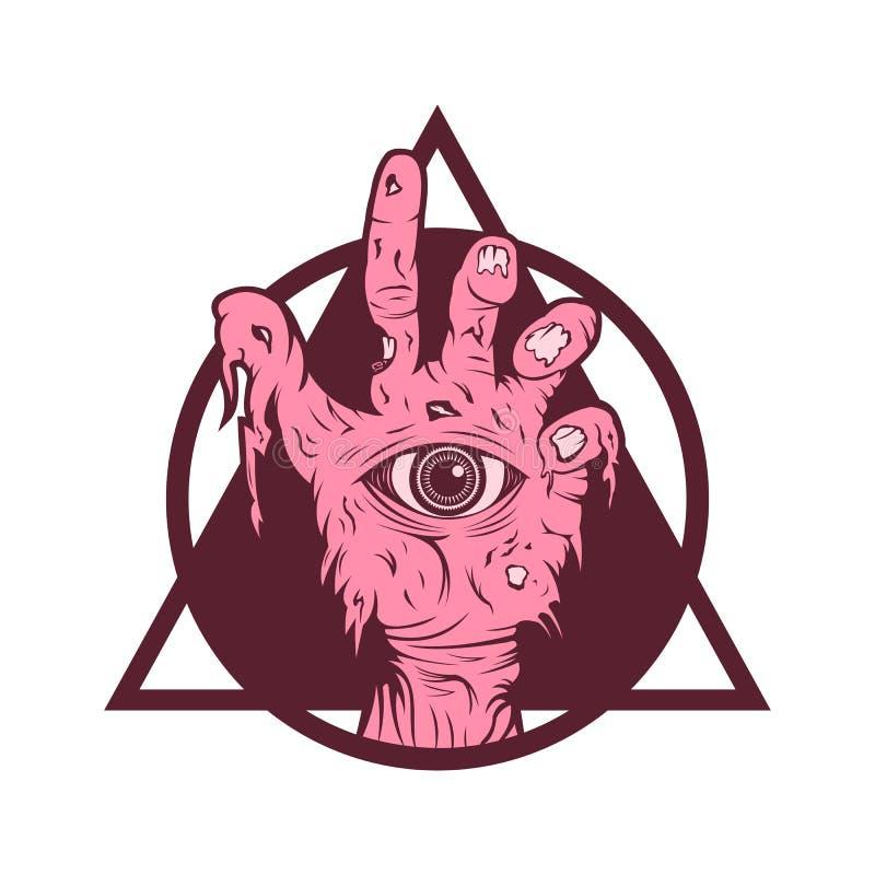 Zombiehand één oog vectorillustratie stock illustratie