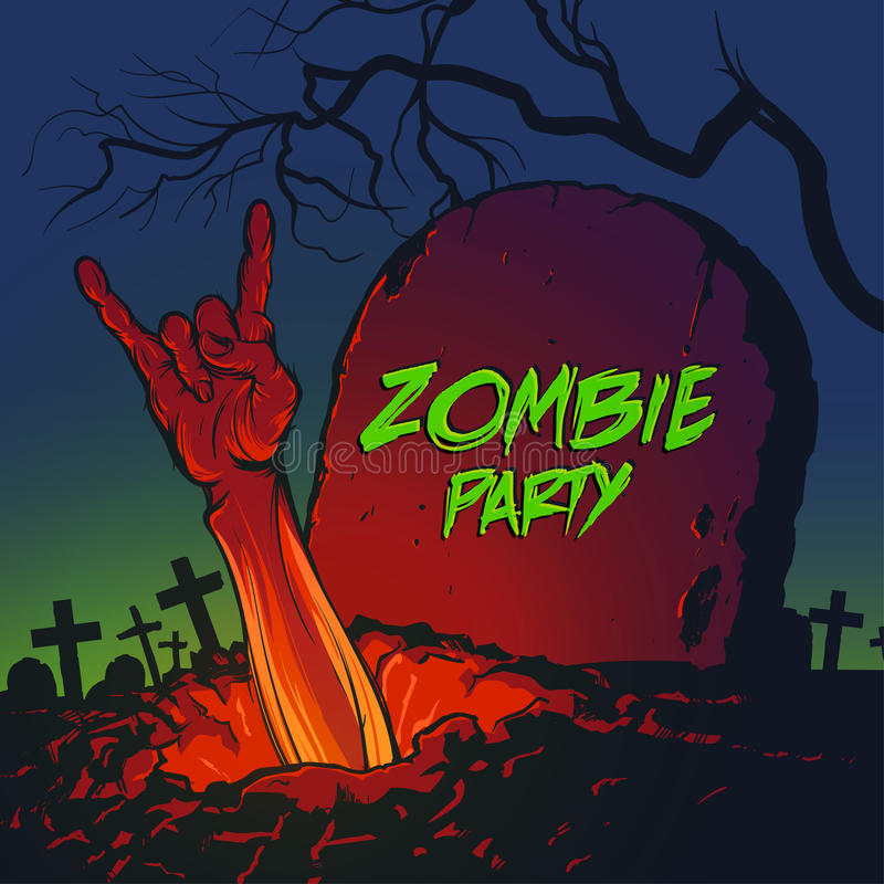 Zombiehand die uit uit het graf komen vector illustratie