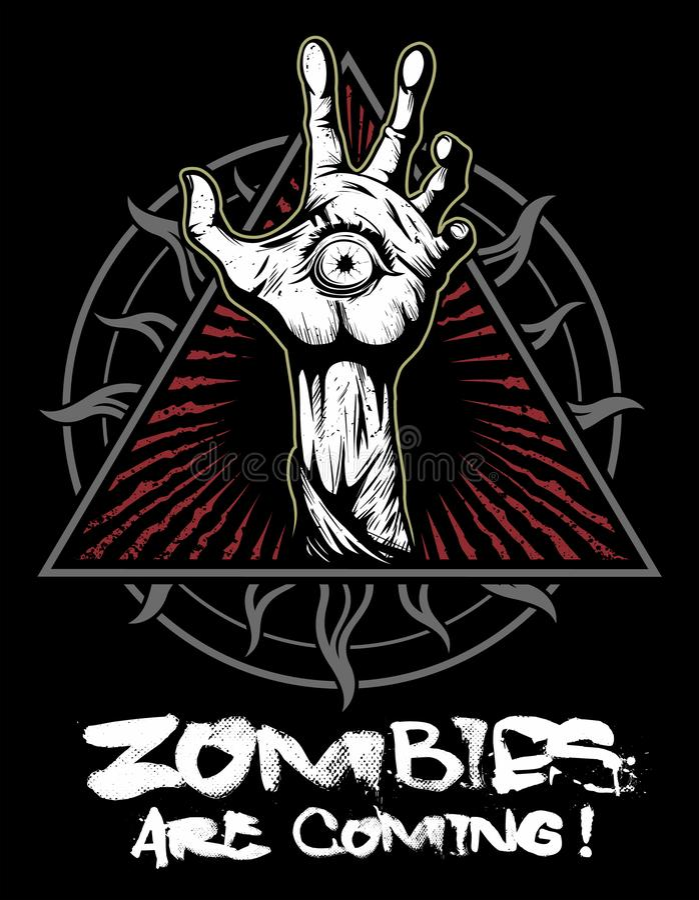 Zombiehand mit dem Auge, Vektorlogo stock abbildung