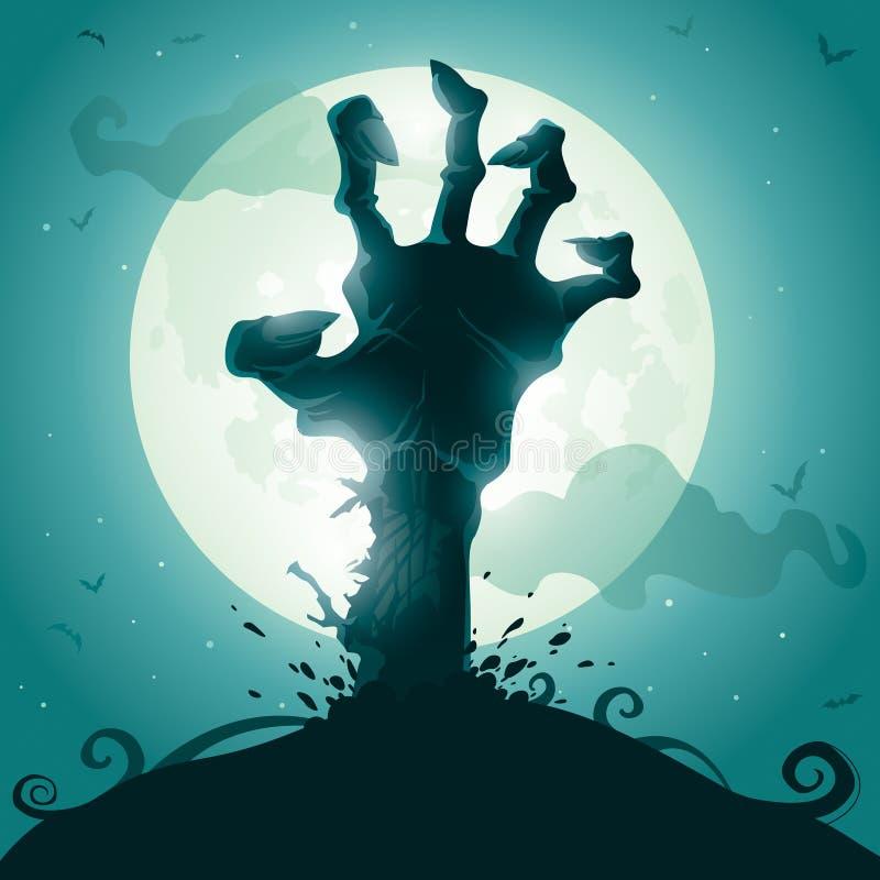 Zombiehand op volle maan stock illustratie