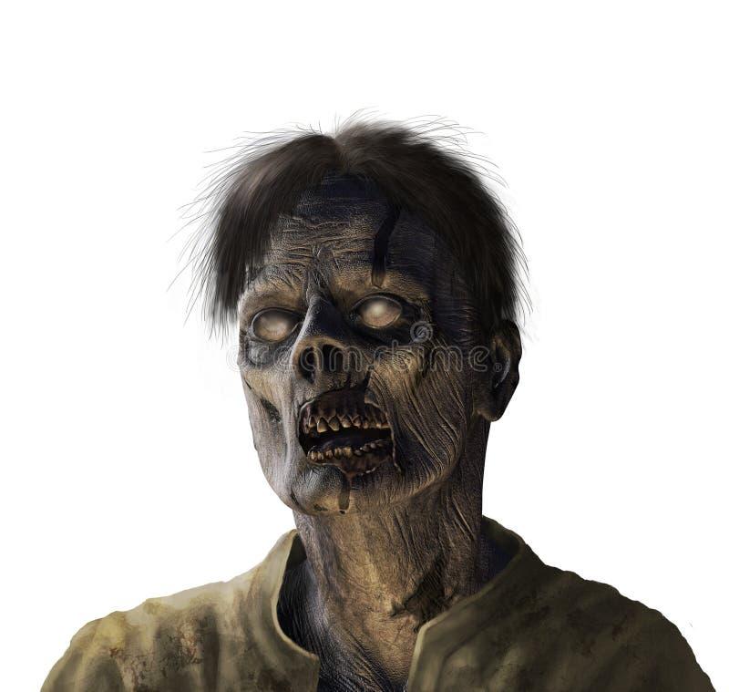 Zombieportret - op wit stock illustratie