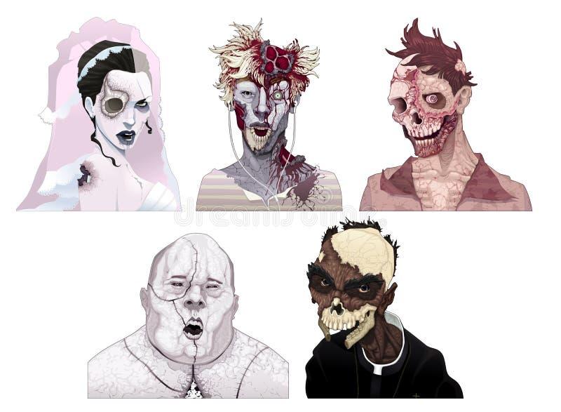 Zombieportretten stock illustratie