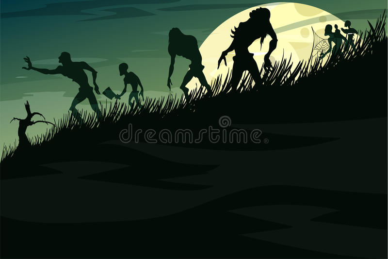 Zombies που περπατά κάτω από το λόφο στην υδρονέφωση σε μια πανσέληνο διανυσματική απεικόνιση