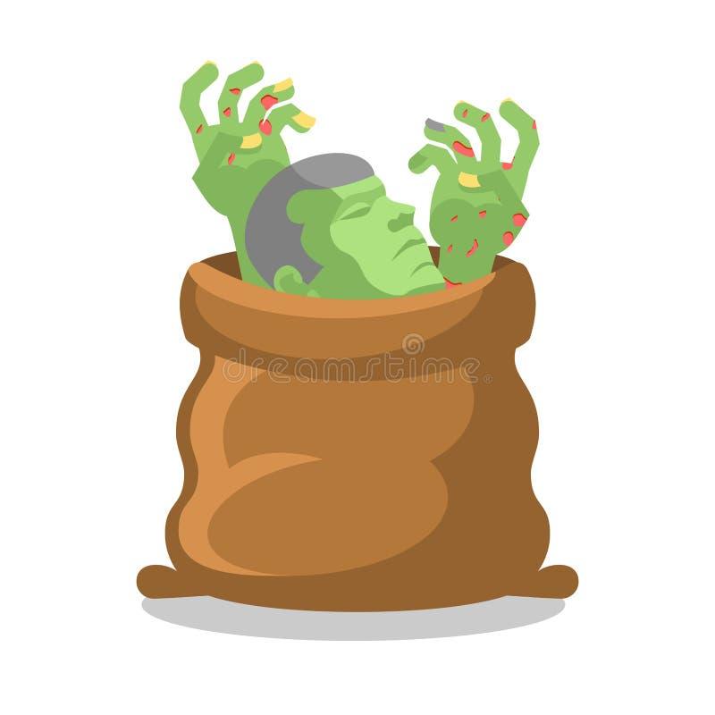 Zombies στο σάκο Διαμελισμένο πτώμα στην τσάντα Χέρια και κεφάλι του CL ελεύθερη απεικόνιση δικαιώματος