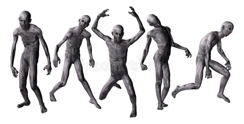 Zombies in 3D lizenzfreie abbildung