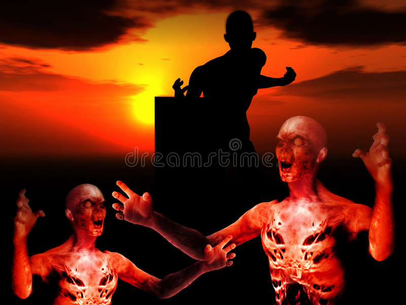 Zombies. Some zombies with a sunset background stock illustration