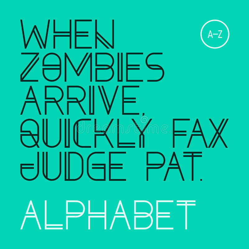 When zombies arrive, quickly fax judge Pat. Modern font, alphabet. When zombies arrive, quickly fax judge Pat. Modern font, alphabet, 26 letters stock illustration
