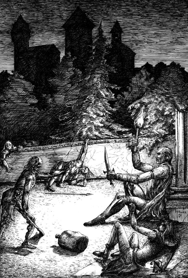 Zombies attack. The main characters. Hand drawn illustration. A brave man with a torch and a fragile girl were caught unawares on the night halt in the ruins of stock illustration