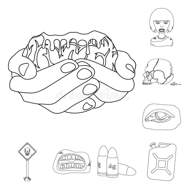 Zombies And Attributes Outline Icons In Set Collection For Design