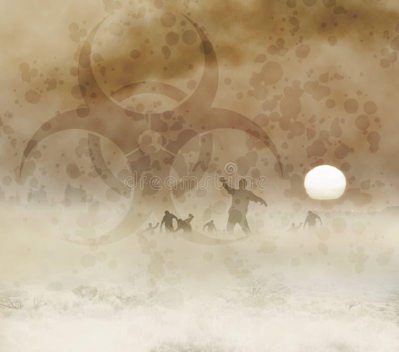 Zombies dawn biohazard stock illustration