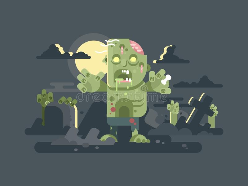 Zombies in der Kirchhofnacht vektor abbildung