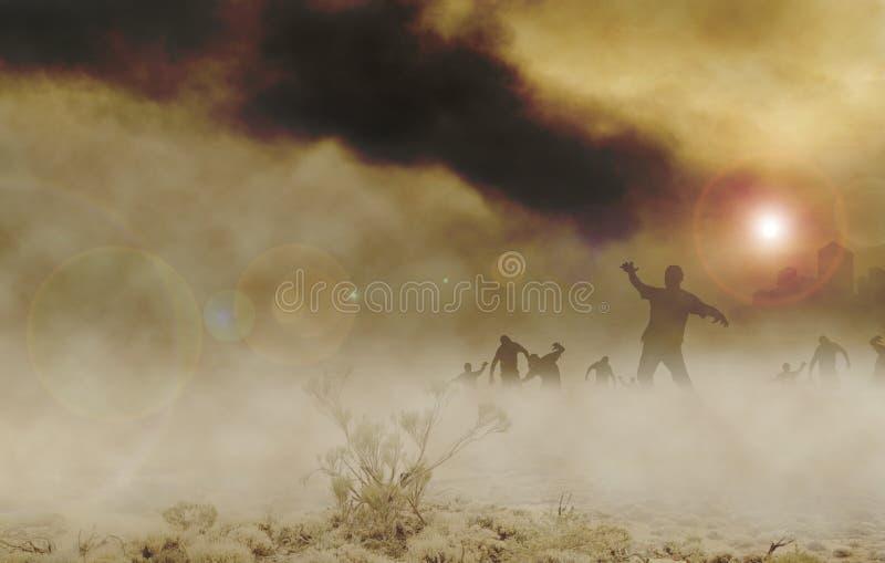 Zombies desert horizontal royalty free illustration