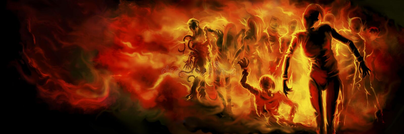 Zombies in fire banner royalty free illustration