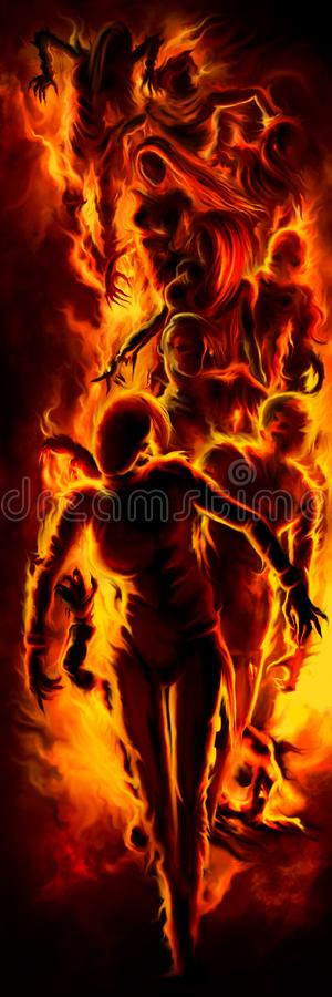 Zombies in fire vertical banner vector illustration