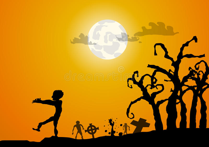 Zombies and gaveyard halloween background stock illustration