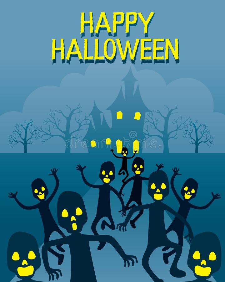 Zombies Running From Ghastly Castle. Mystery Holiday Culture Halloween Decoration Fantasy Night Party vector illustration