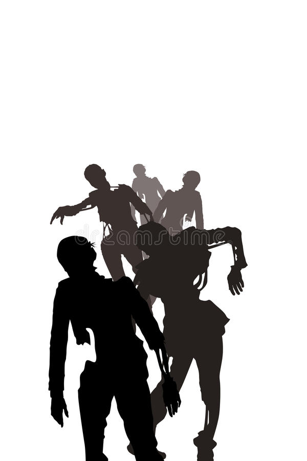 Zombies on white vector illustration