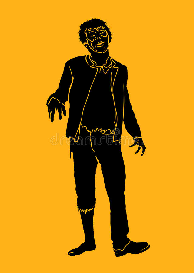 ZombieSilhouette vektor illustrationer