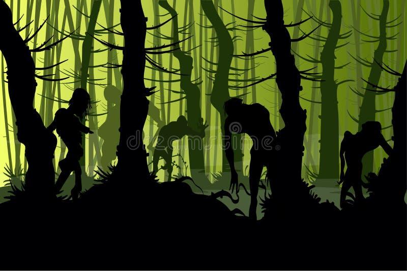 Zombis assustadores em uma floresta ilustração royalty free