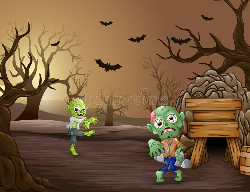 Zombis assustadores repugnantes na floresta inoperante ilustração do vetor