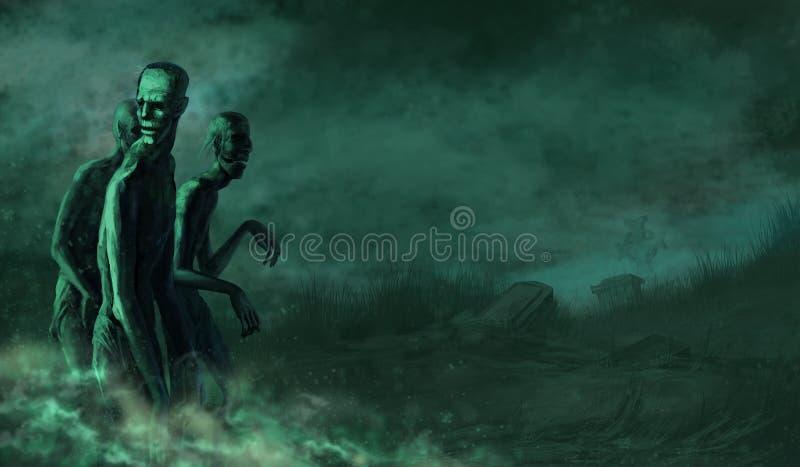 Zombis dans le cimetière illustration stock
