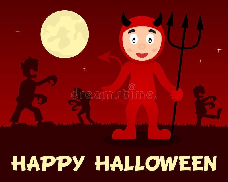 Zombis de Dia das Bruxas que andam com diabo vermelho ilustração royalty free
