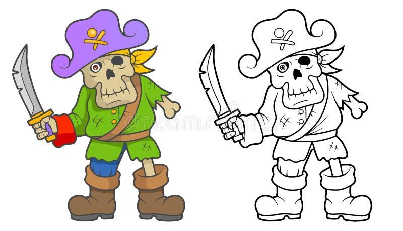 Zombis de pirate avec une épée illustration stock