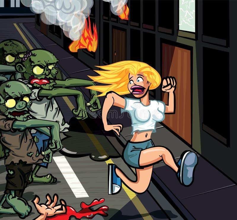 Zombis dos desenhos animados que perseguem a mulher ilustração stock