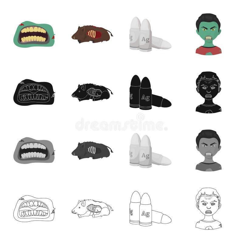 Zombis, homem, cadáver e o outro ícone da Web no estilo dos desenhos animados Boca, bordos, feridas, ícones na coleção do grupo ilustração stock