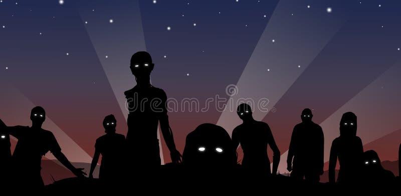 Zombis na meia-noite ilustração do vetor