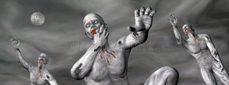 Zombis na noite - 3D rendem ilustração royalty free